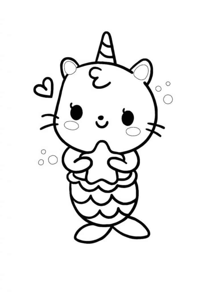 Kawaii cat mermaid unicorn coloring page