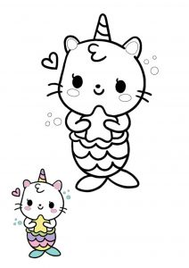 Kawaii cat mermaid unicorn coloring page with sample