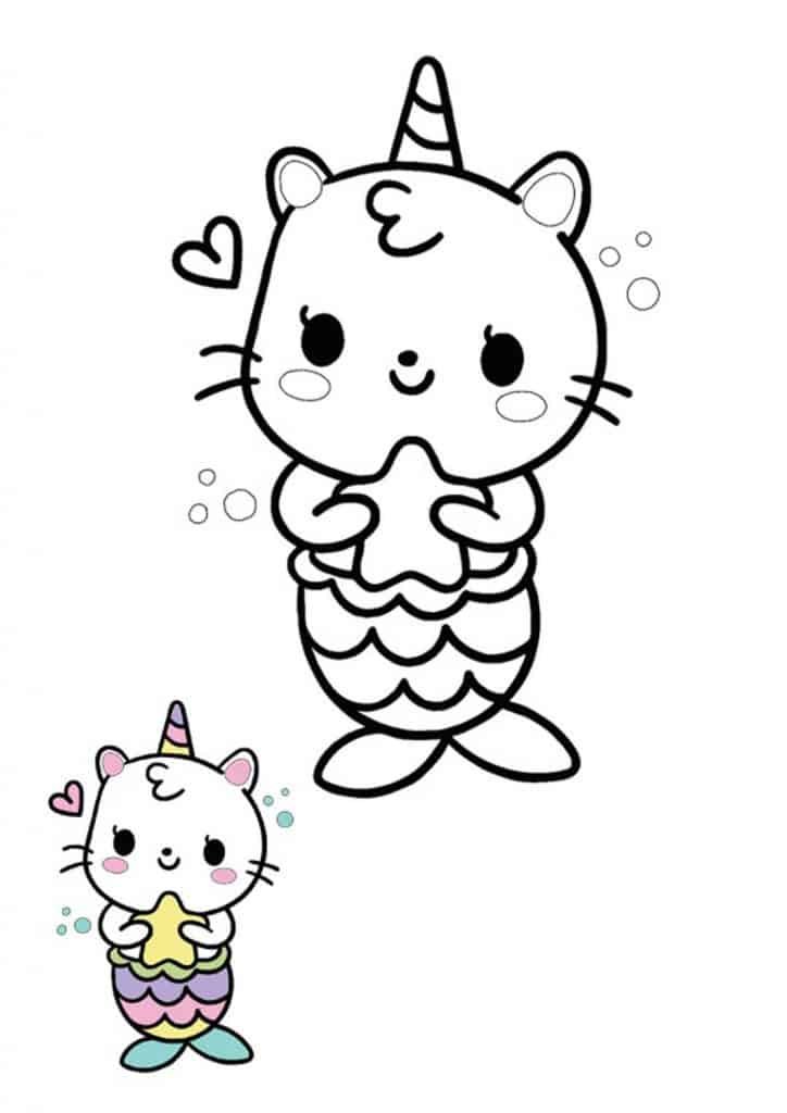 Kawaii cat mermaid unicorn coloring page with sample