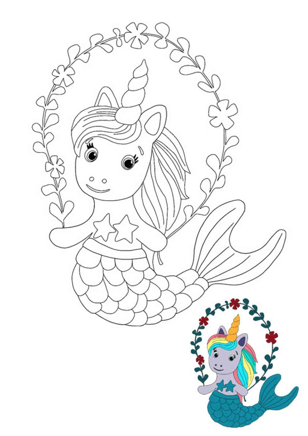 Little mermaid unicorn coloring page with sample