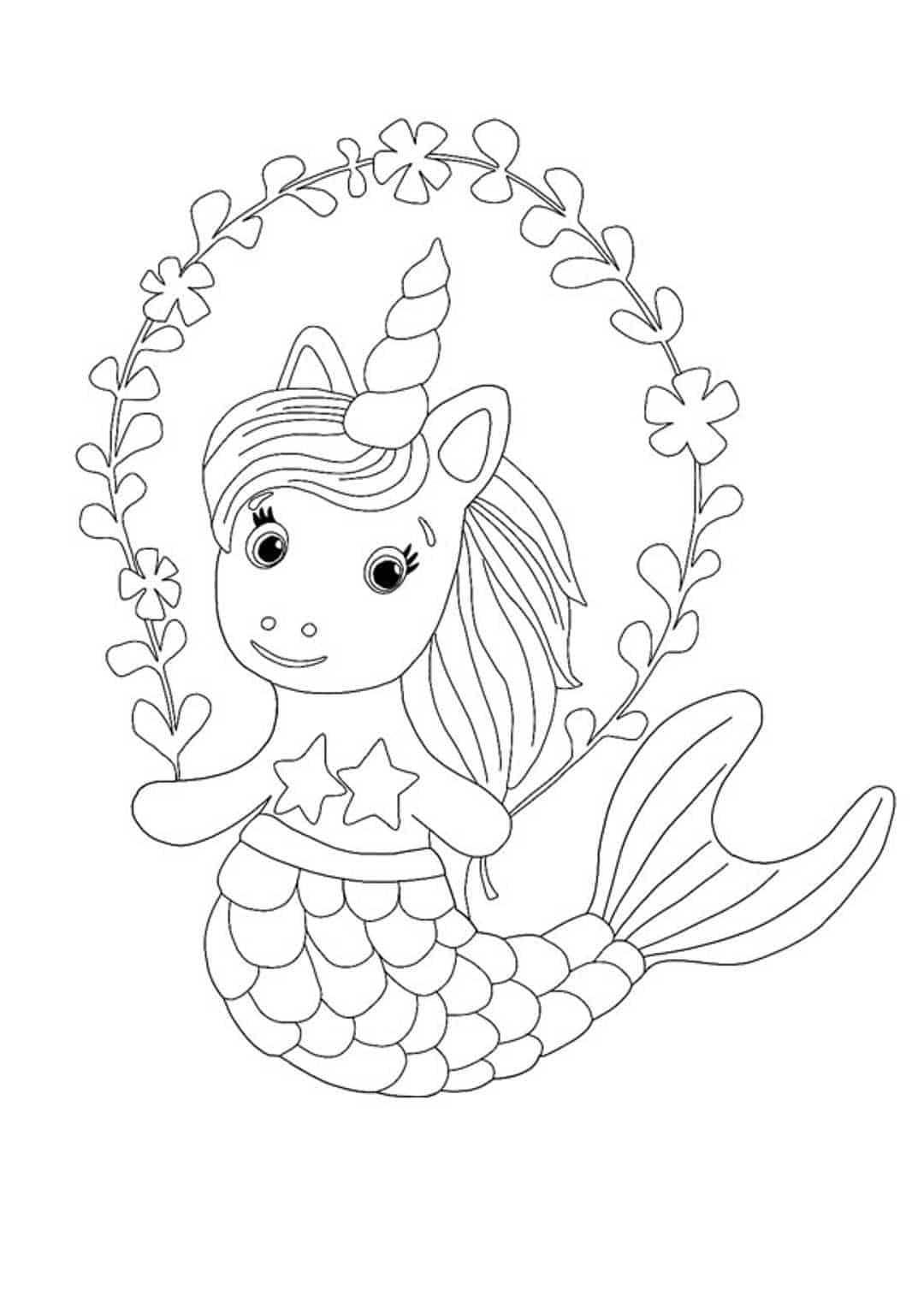 Little mermaid unicorn coloring page