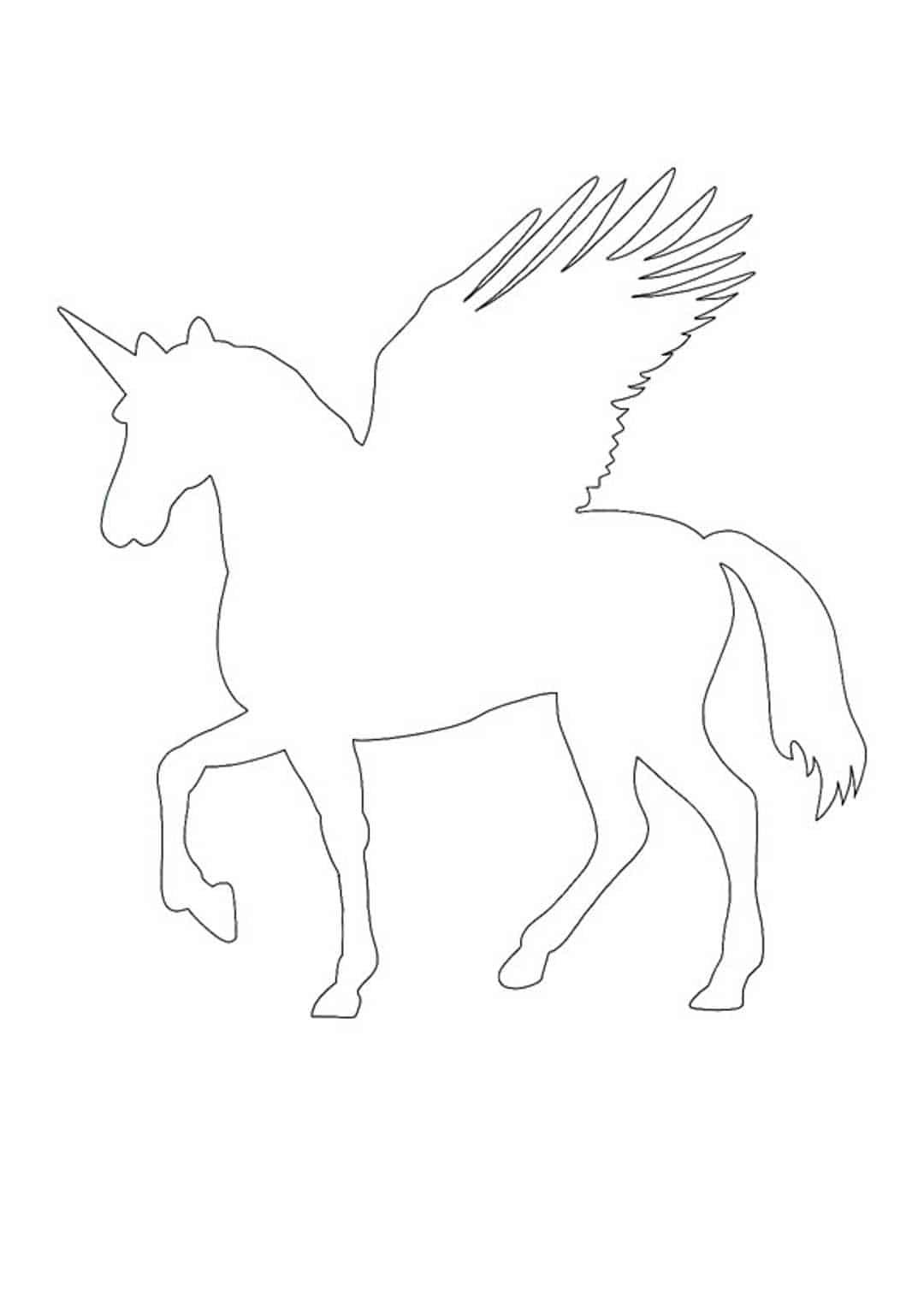 Coloriage Silhouette de licorne Pegasus