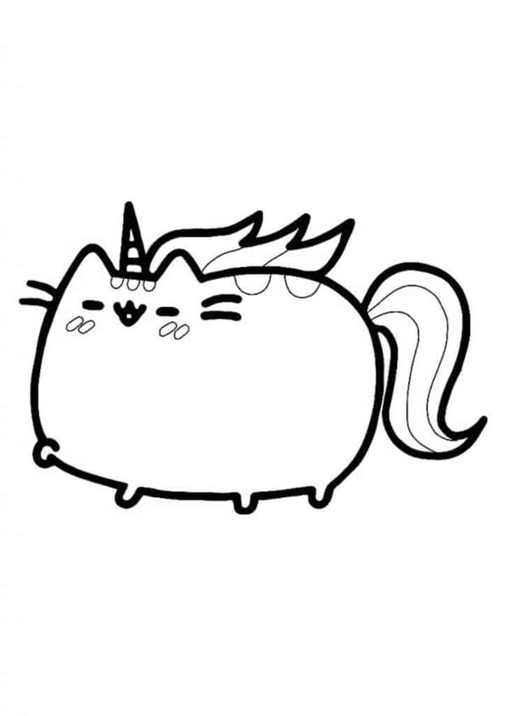 Pusheen unicorn coloring page