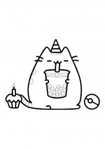 Pusheen unicorn birthday cake coloring page
