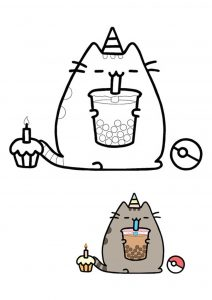 Pusheen unicorn birthday cake coloring page with sample