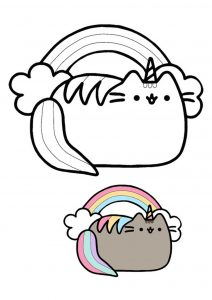 Pusheen unicorn rainbow coloring page with sample
