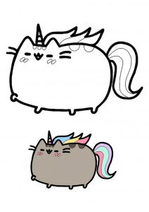 Pusheen unicorn coloring page with sample