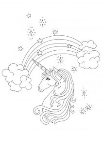 Rainbow unicorn head coloring page