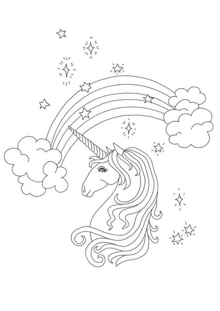 Rainbow unicorn head coloring page