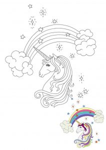 Rainbow unicorn head coloring page with sample