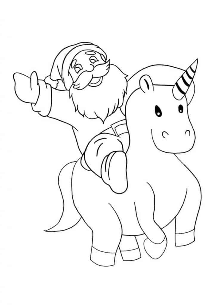 Santa riding unicorn coloring page