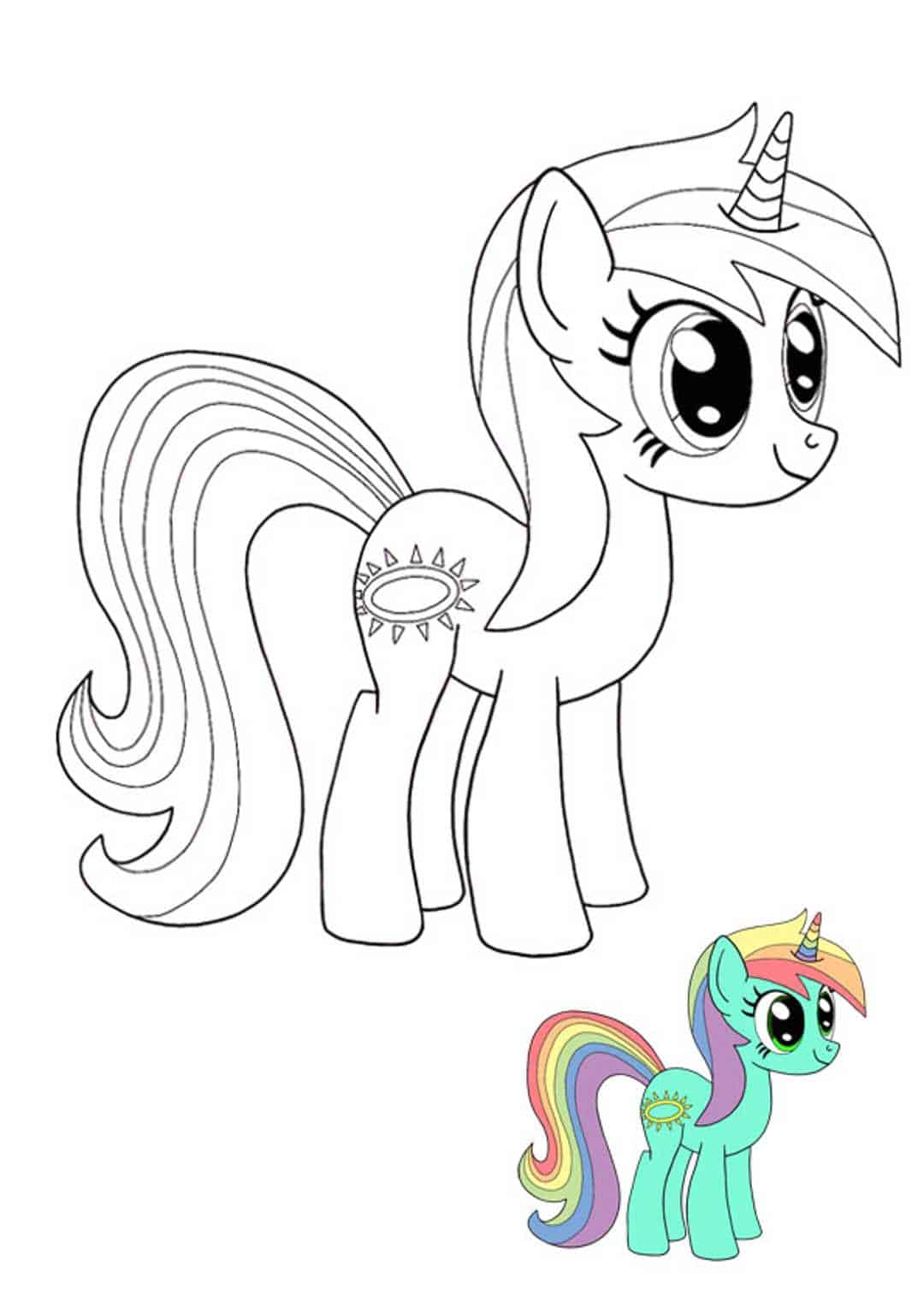 Twilight Sparkle My Little Pony Unicorn coloring page with sample