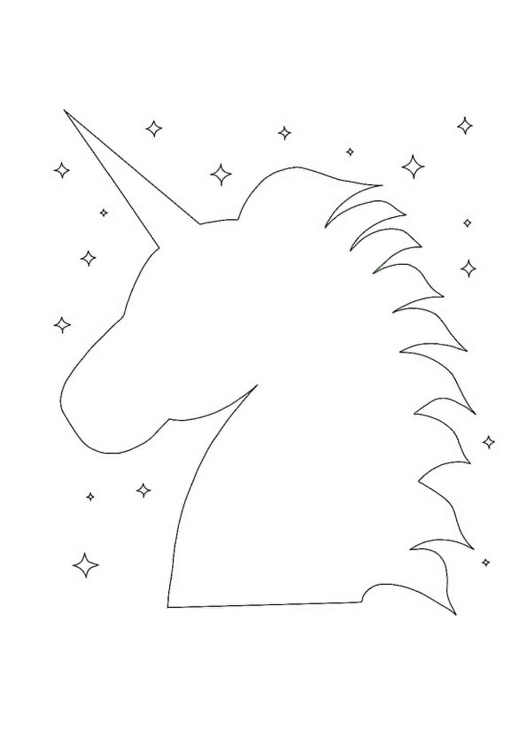 Unicorn head coloring page