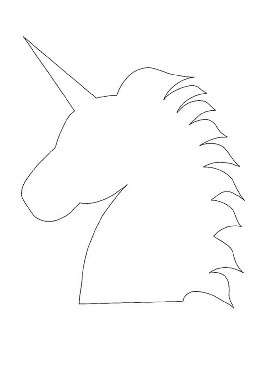 Unicorn head silhouette coloring page