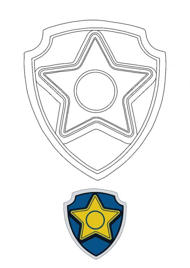 Paw Patrol Chase Badge coloring page with sample