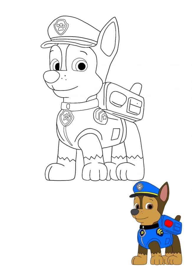 Paw Patrol Chase coloring page with sample