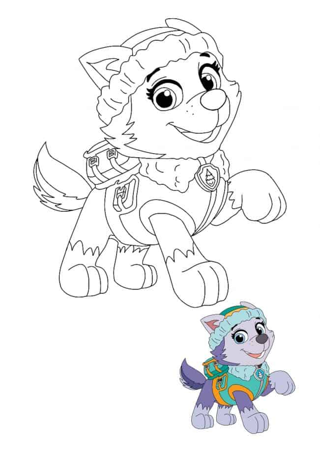 Paw Patrol Everest coloring page with sample