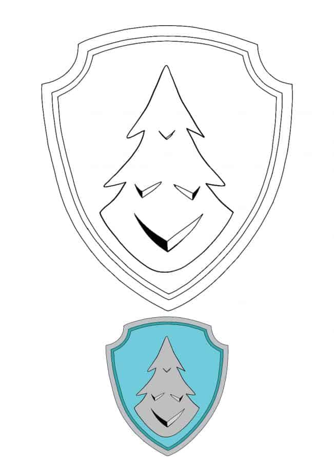Paw Patrol Everest Badge coloring page with sample