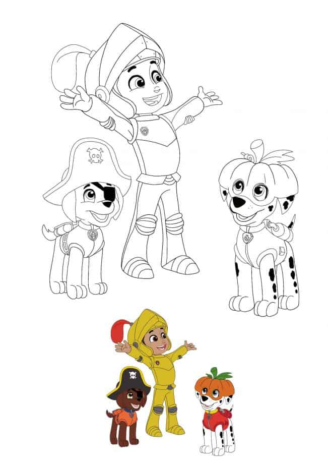 Paw Patrol Halloween coloring image