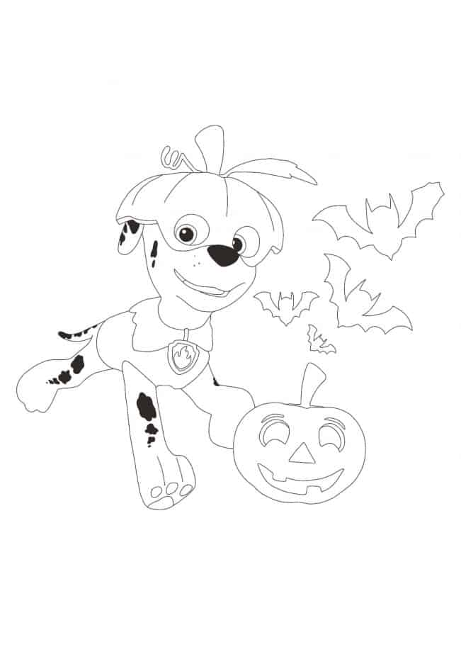 Paw Patrol Halloween Marshall and Pumpkin coloring page