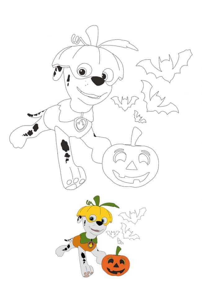 Paw Patrol Halloween Marshall coloring sheet