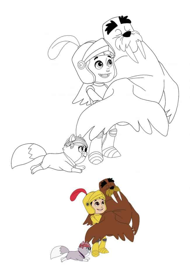 Paw Patrol Halloween Ryder and Wally coloring page with coloring preview