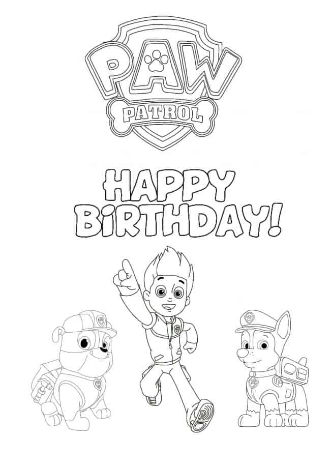 Paw Patrol Happy Birthday coloring page