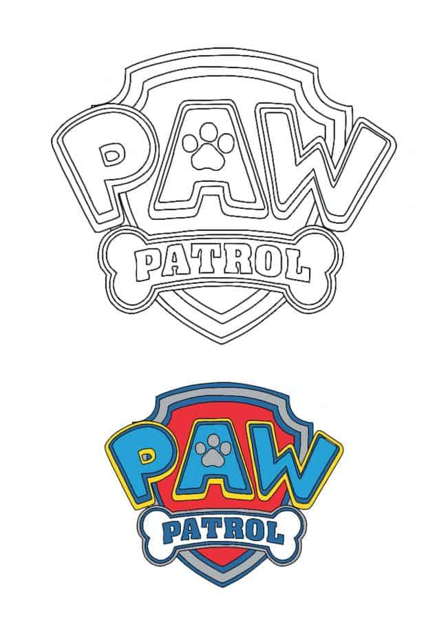 Paw Patrol Logo coloring page with sample