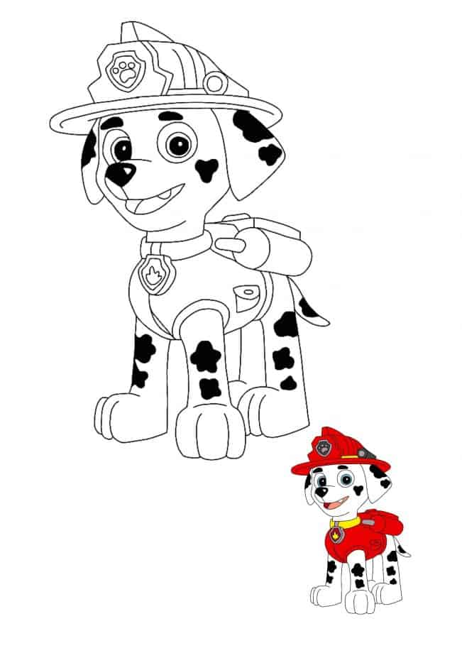 Paw Patrol Marshall coloring page with sample