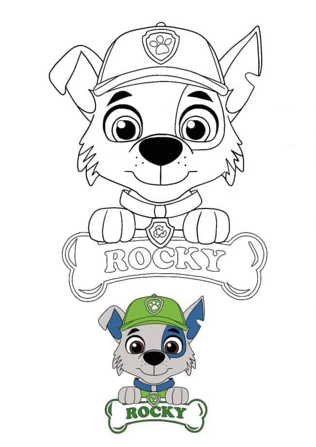 Paw Patrol Rocky coloring page with preview