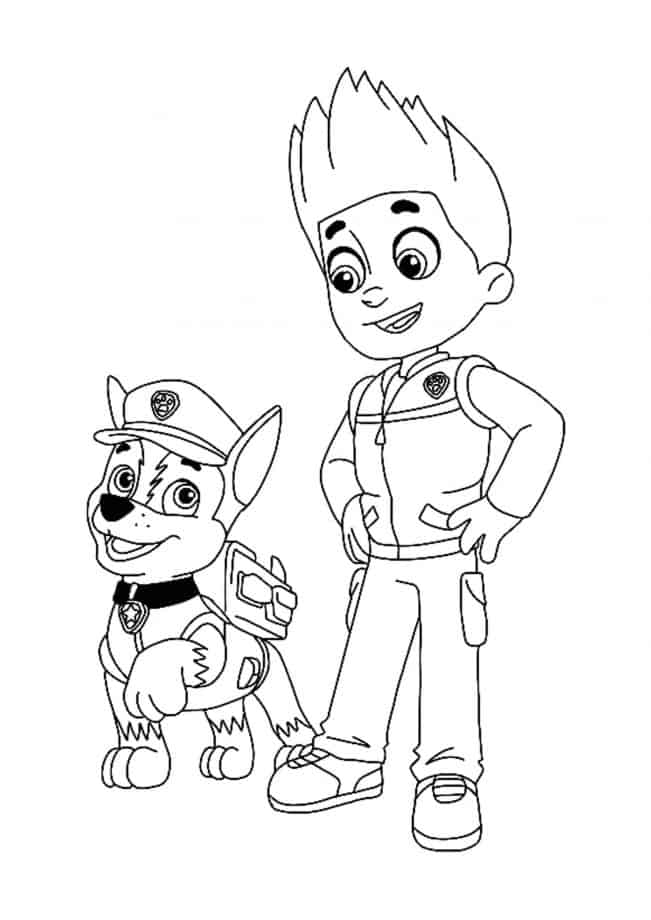 Paw Patrol Ryder and Chase coloring page