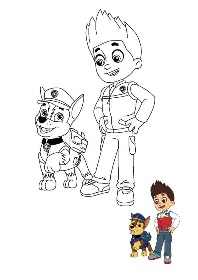 Paw Patrol Ryder and Chase coloring sheet