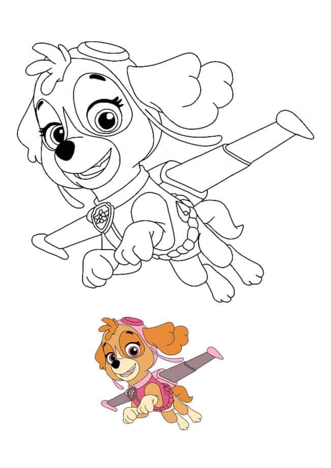 Paw Patrol Skye coloring sheet with preview