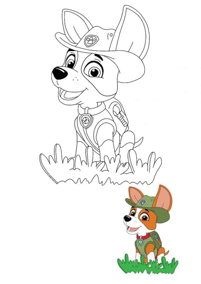 Paw Patrol Tracker coloring sheet with a preview