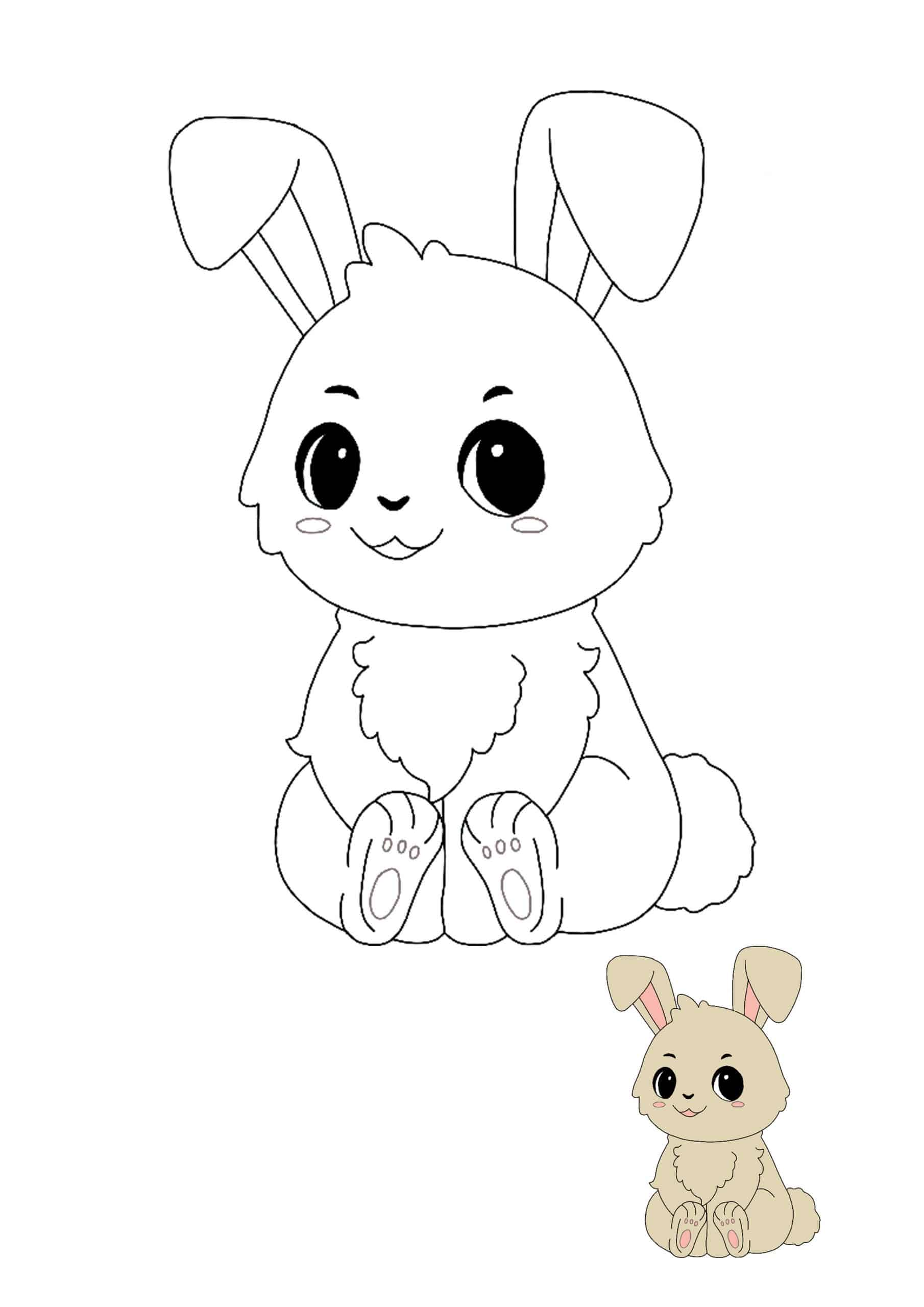 Chibi Kawaii Bunny coloring sheet