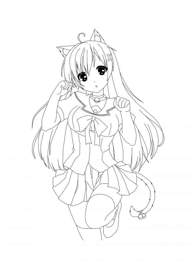 Coloriage Kawaii Chat Fille