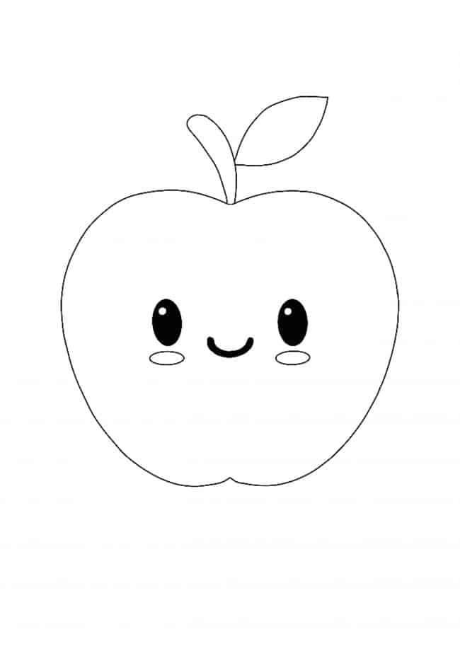 Kawaii Apple coloring page