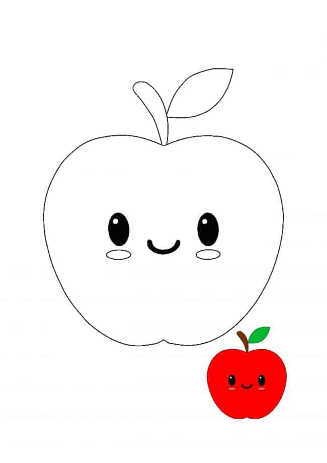 Kawaii Apple coloring page with sample