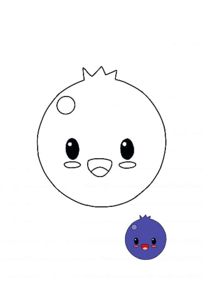 Kawaii Blueberry easy coloring page