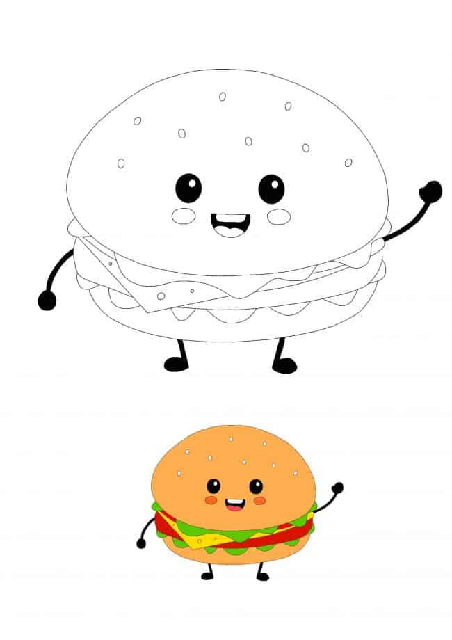 Cute Kawaii Burger coloring page
