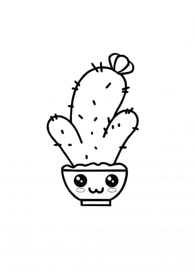 Kawaii Cactus coloring page