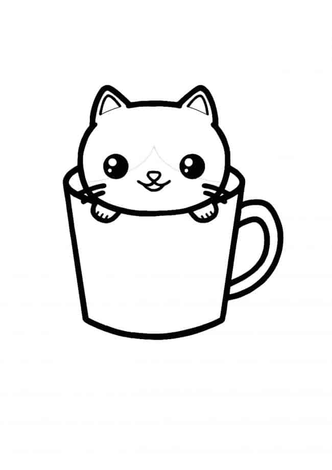 Kawaii Cat Teacup coloring page