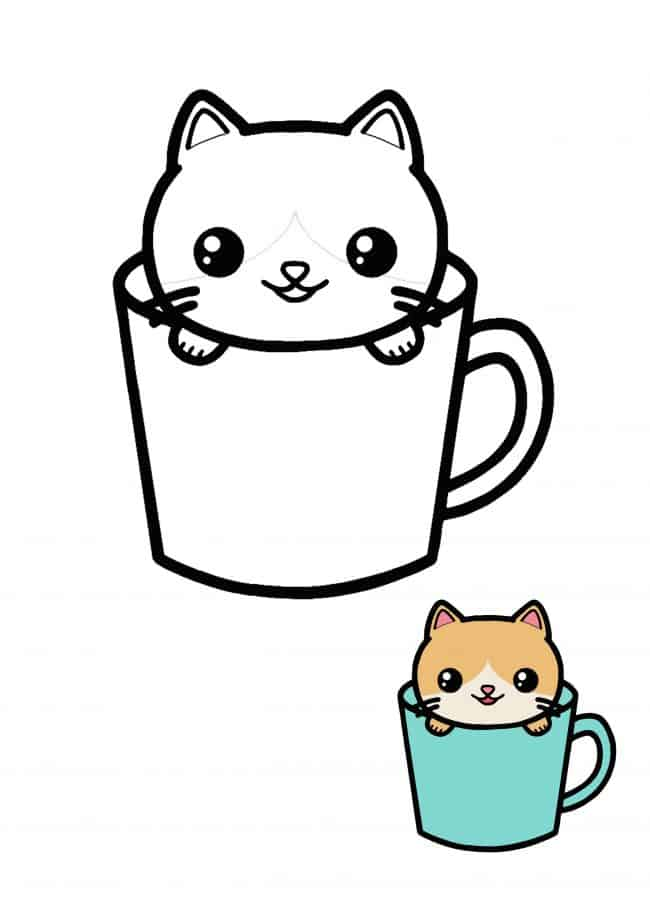 Kawaii Cat Teacup coloring page for kids