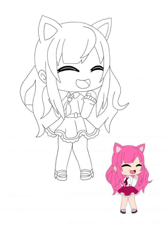 Kawaii Chan Girl coloring page with sample