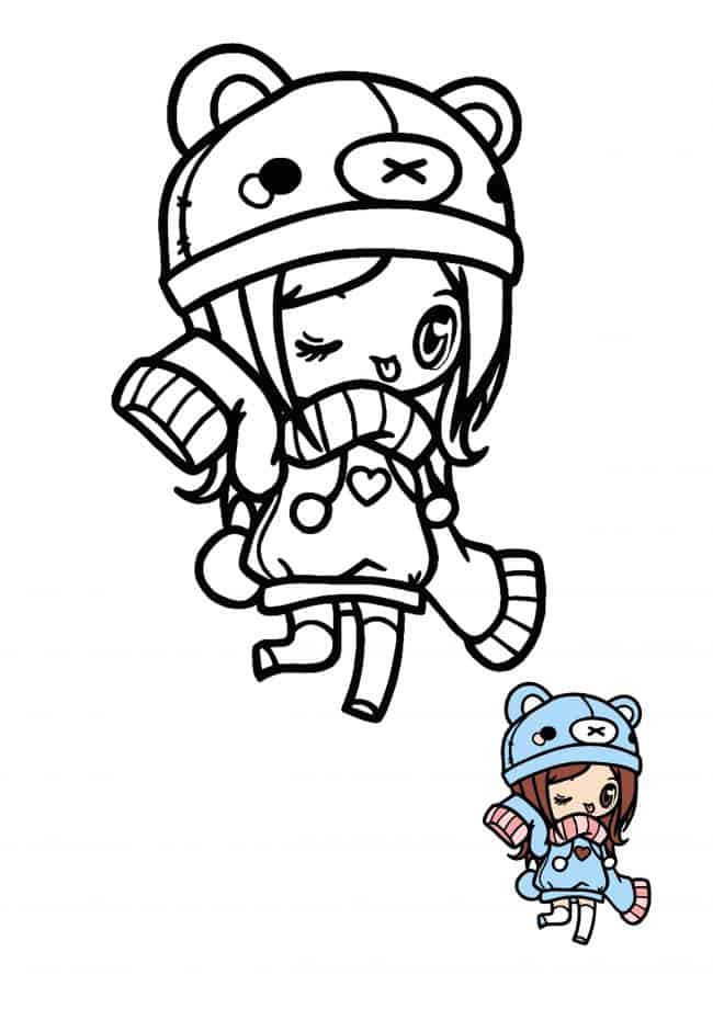 Kawaii Chibi Girl coloring page with preview