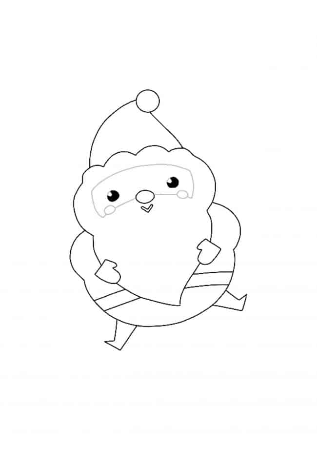 Kawaii Christmas Santa coloring page
