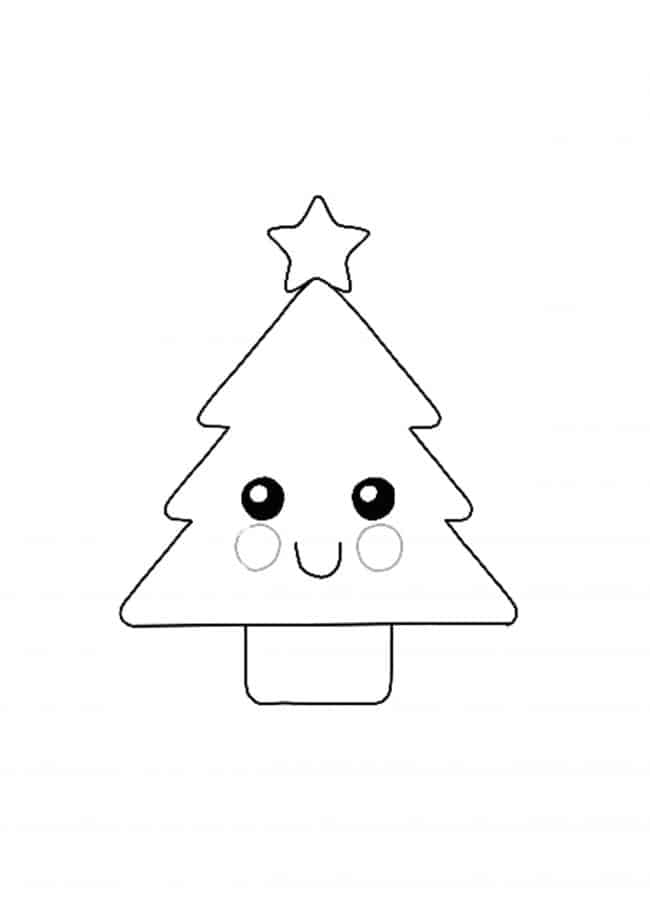 Kawaii Christmas Tree coloring page