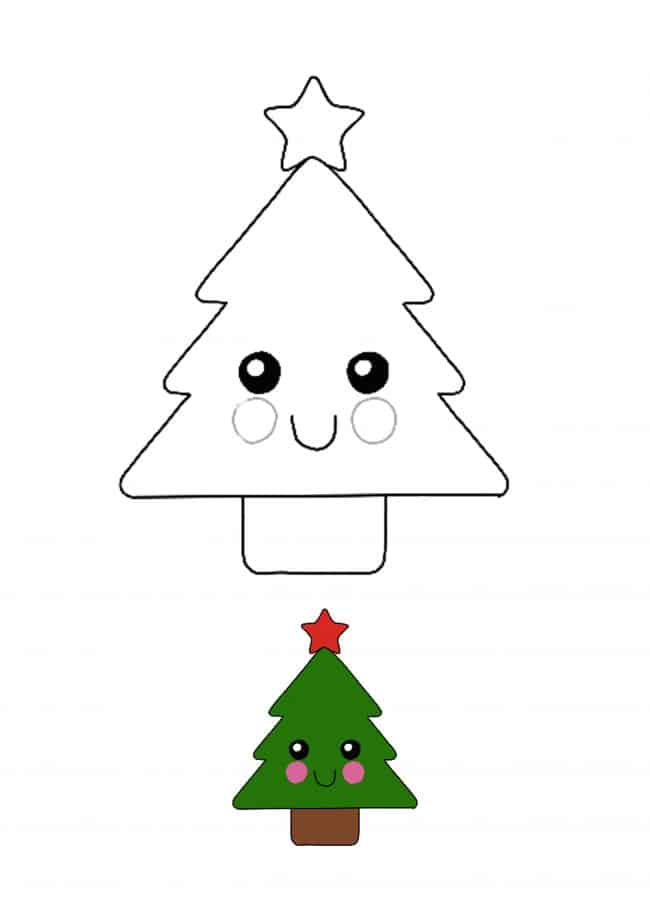 Kawaii Christmas Tree coloring page for kids