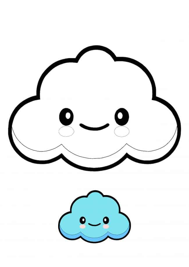 Kawaii Cloud easy coloring page