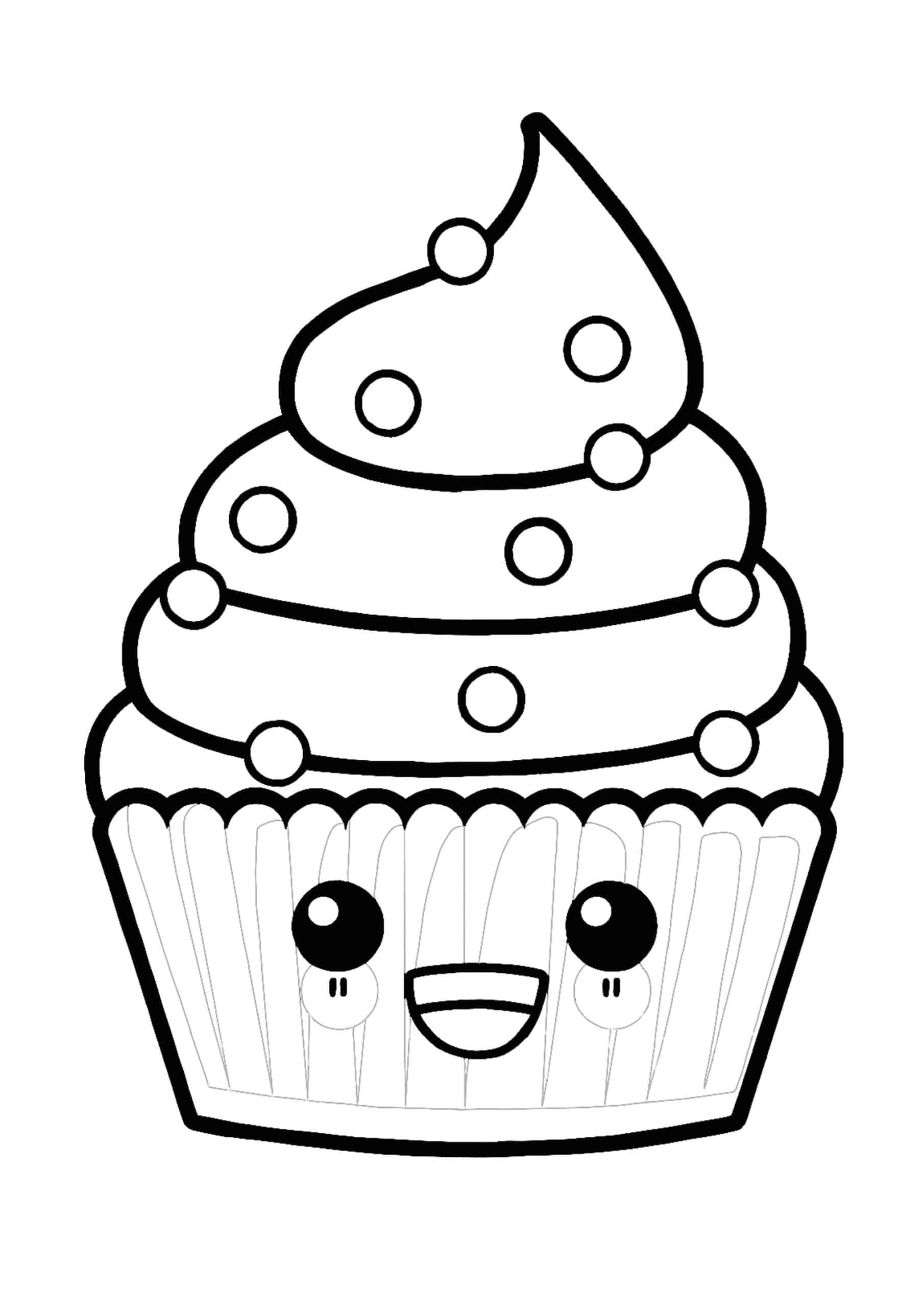Coloriage Gateau Kawaii